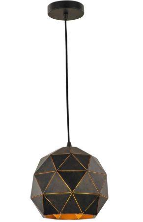Franklite Tangent 1 Light Small Pendant Ceiling Light Black / Gold
