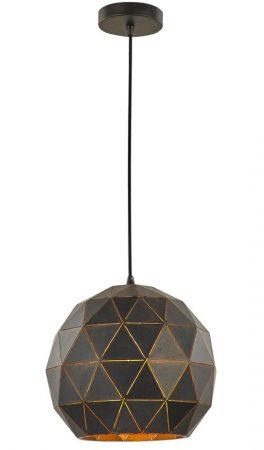Franklite Tangent 1 Light Medium Pendant Ceiling Light Black / Gold