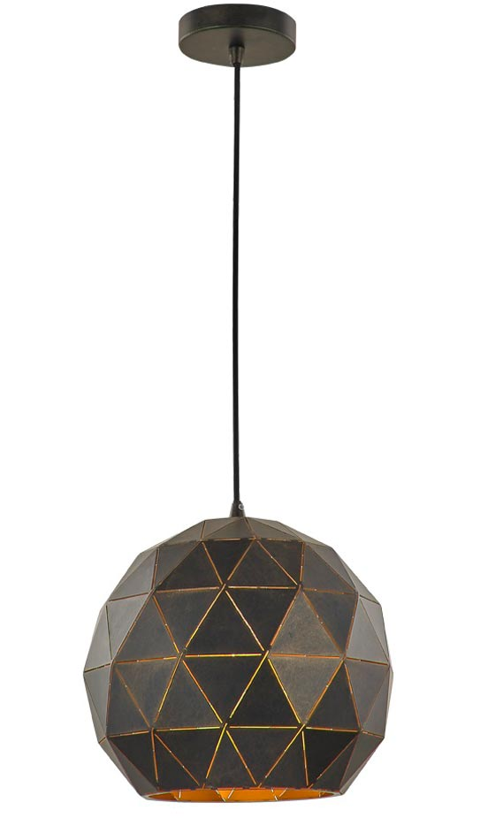 Contemporary 1 Light Medium Geometric Ceiling Pendant Black / Gold