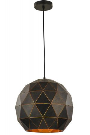 Franklite Tangent 1 Light Large Pendant Ceiling Light Black / Gold
