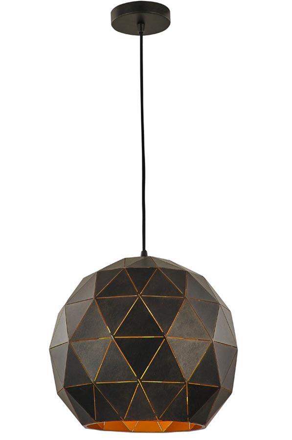 Contemporary 1 Light Large Geometric Ceiling Pendant Black / Gold