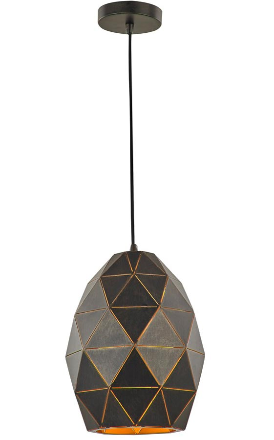 Contemporary Oval 1 Light Geometric Ceiling Pendant Black / Gold