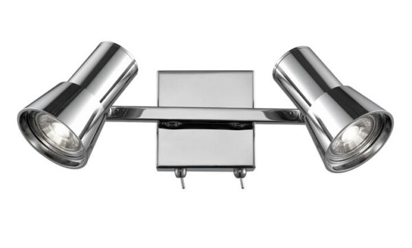 High Quality Adjustable 2 light Switched Wall Spot Light Polished Chrome