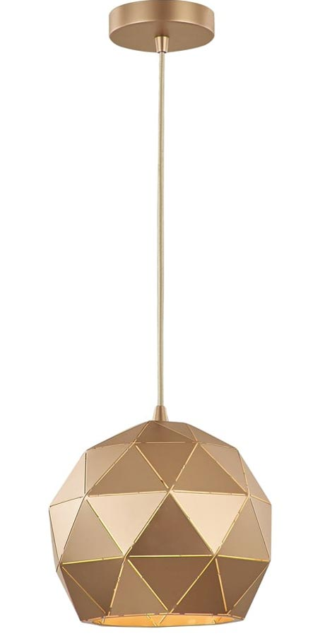 Franklite Tangent 1 Light Small Pendant Ceiling Light Rose Gold PCH149
