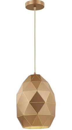 Franklite Tangent 1 Light Oval Pendant Ceiling Light Rose Gold