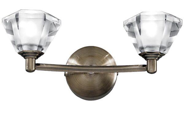 Franklite Twista Twin Wall Light Soft Bronze Crystal Glass Shades