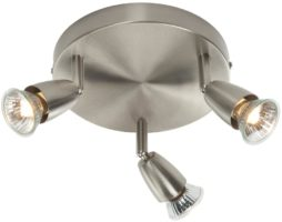 Amalfi Modern Round 3 Lamp Ceiling Spotlight Plate Satin Nickel