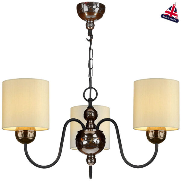 David Hunt Garbo 3 Light Bronze Chandelier Cream Fabric Shades