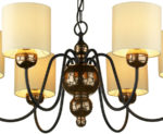 David Hunt Garbo 6 Light Bronze Chandelier Cream Fabric Shades