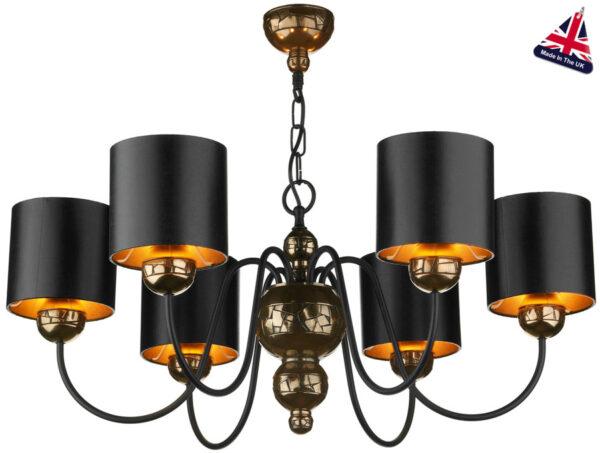 David Hunt Garbo 6 Light Bronze Chandelier Black Shades Gold Lining