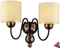 David Hunt Garbo Bronze Twin Wall Light Cream Fabric Shades