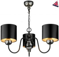 David Hunt Garbo 3 Light Pewter Chandelier Black Shades Silver Lining