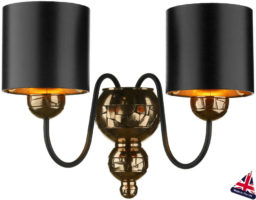 David Hunt Garbo Bronze Twin Wall Light Black Shades Gold Lined