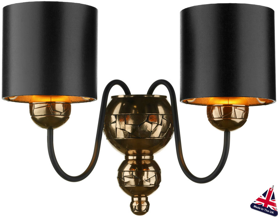 David hunt garbo bronze twin wall light black shades gold lined gar0973 david hunt garbo bronze twin wall light black shades gold lined aloadofball Image collections