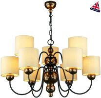 David Hunt Garbo 9 Light Bronze Chandelier Cream Fabric Shades