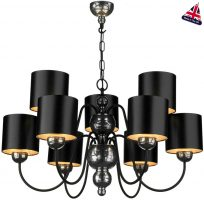 David Hunt Garbo 9 Light Pewter Chandelier Black Shades Silver Lined