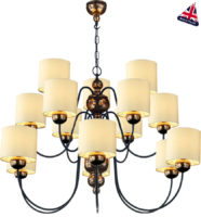 David Hunt Garbo Large 15 Light Bronze Chandelier Cream Shades