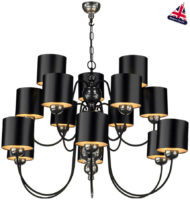 David Hunt Garbo 15 Light Pewter Chandelier Black Shades Silver Lined
