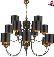 David Hunt Garbo 15 Light Bronze Chandelier Black Shades Gold Lined