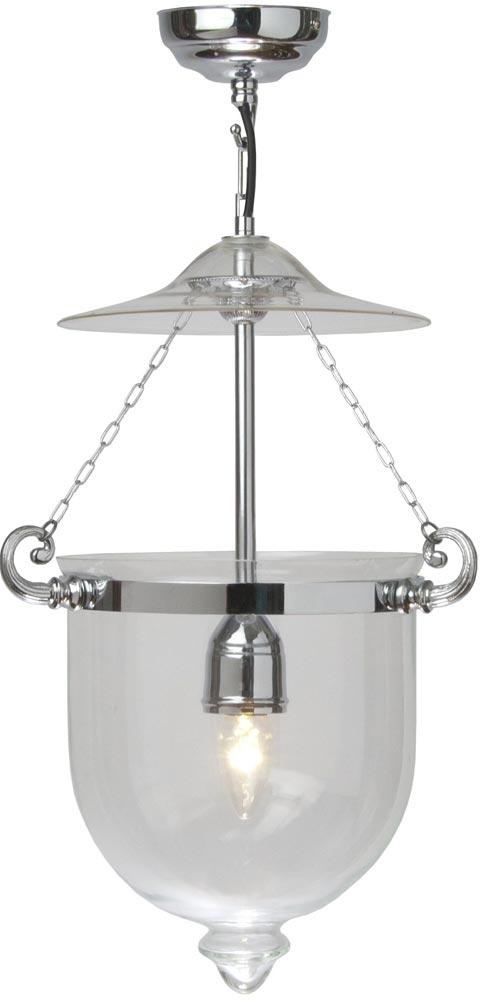 Small Chrome 1 Light Georgian Glass Hanging Lantern