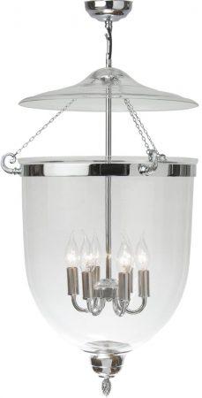 Very Large Chrome 5 Light Georgian Glass Hanging Lantern