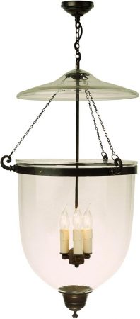 Large Antique Finish 3 Light Georgian Hanging Glass Lantern