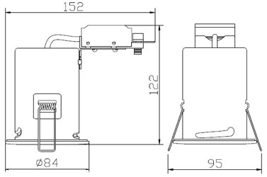 GU10 fire rated fixed bathroom down light line drawing