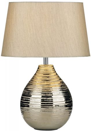 Dar Gustav Small Silver Finish Ceramic Table Lamp