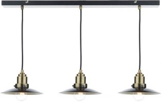Dar Hannover Industrial 3 Light Pendant Black And Antique Brass