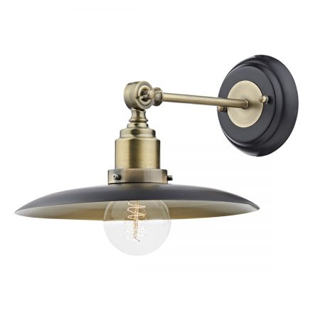 Dar Hannover Black 1 Lamp Retro Wall Light Antique Brass