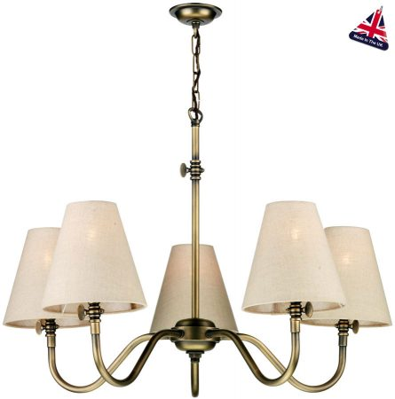 David Hunt Hicks Traditional 5 Light Chandelier Solid Brass
