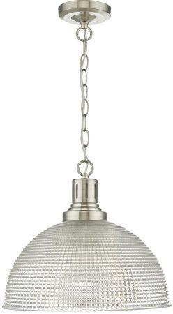 Dar Hodges Industrial Syle Glass 1 Light Pendant Satin Nickel