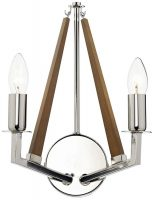 Dar Hotel Modern 2 Lamp Switched Wall Light Polished Nickel