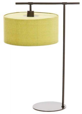 Elstead Balance Dark Matt Copper Table Lamp Lime Drum Shade