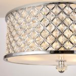 Hudson 3 Light Crystal Drum Semi Flush Ceiling Light Polished Chrome