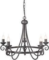 Harlech Black 5 Light Wrought Iron Chandelier UK Made