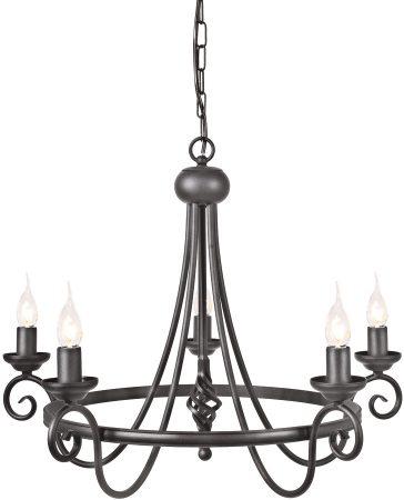 Elstead Harlech Traditional Ironwork 5 Light Chandelier Black