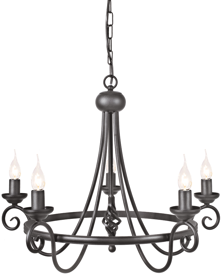Harlech Black 5 Light Wrought Iron Chandelier UK Made HR5/BLK