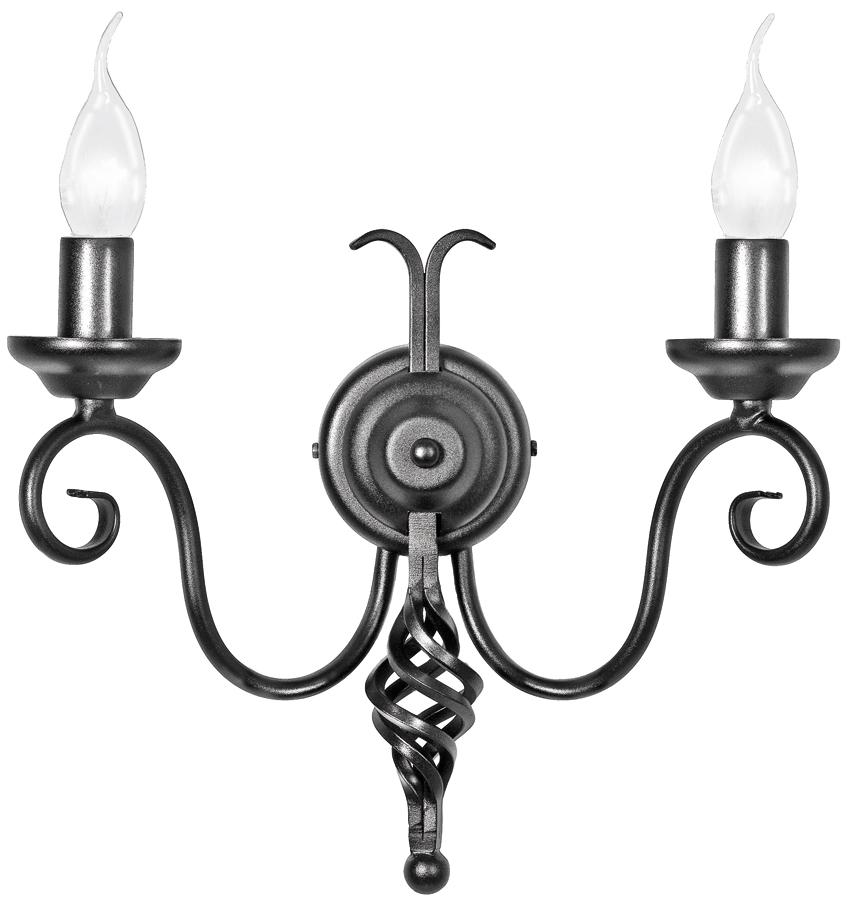 Black Wrought Wall Lights : Harlech Black Finish 2 Lamp Wrought Iron Wall Light UK Made HR2A/BLK