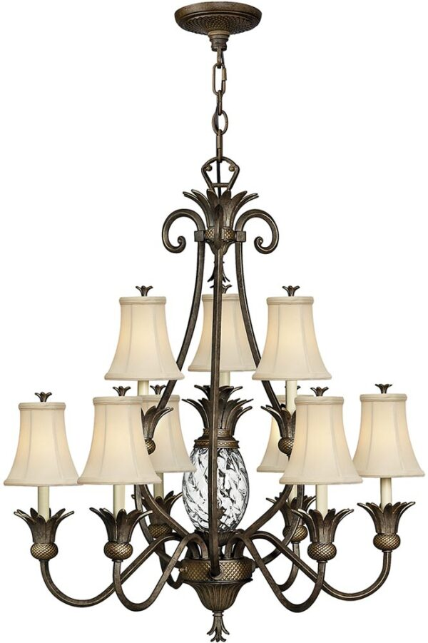Hinkley Plantation Designer 10 Light Pineapple Chandelier Pearl Bronze