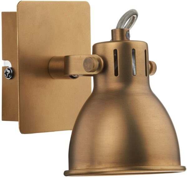 Dar Idaho Switched Single Retro Wall Spot Lamp Natural Brass