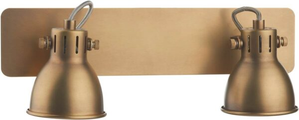 Dar Idaho Switched 2 Light Retro Wall Spot Lamp Natural Brass