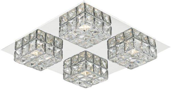 Dar Imogen Polished Chrome Flush 4 Light LED With Crystal