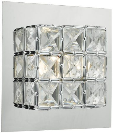 Dar Imogen Chrome Switched LED Wall Light With Crystal