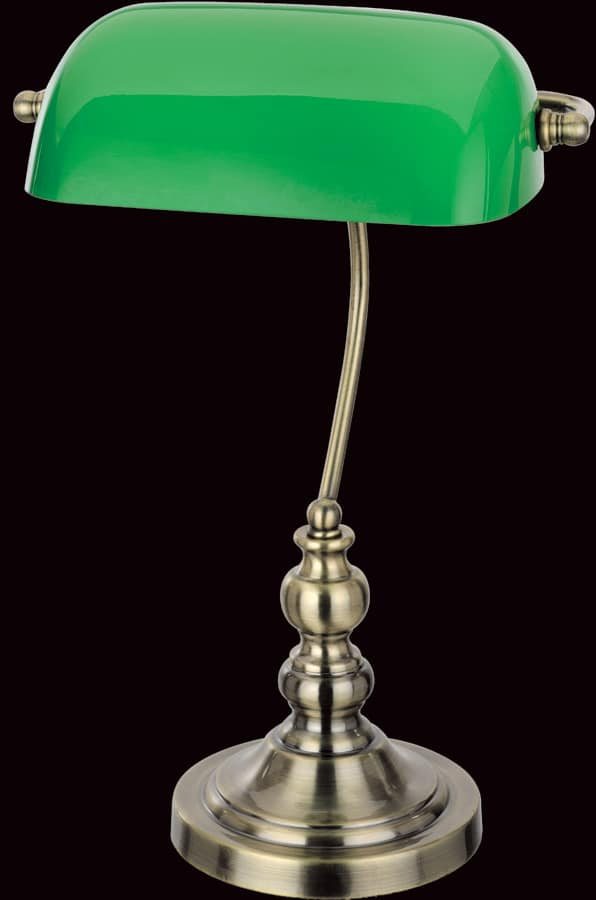 Traditional Bankers Lamp Antique Brass Green Shade