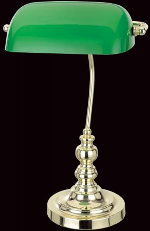 Traditional Bankers Lamp Polished Brass Green Shade