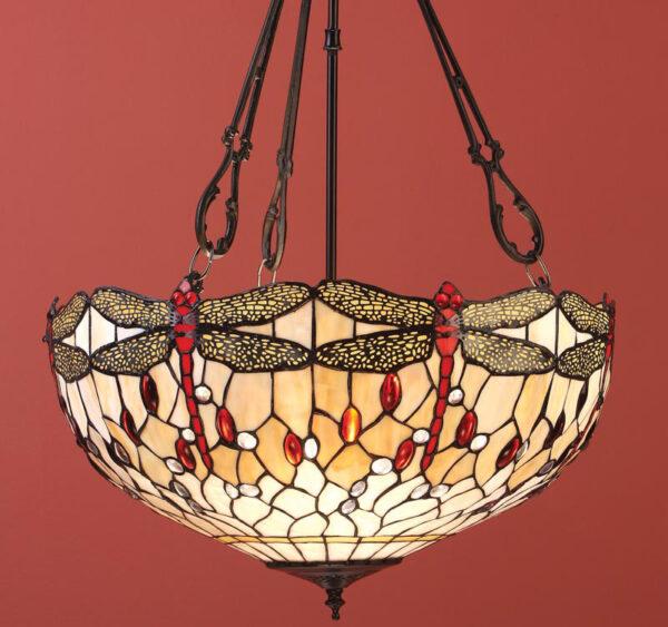 Beige Dragonfly Large 3 Light Tiffany Uplighter Pendant