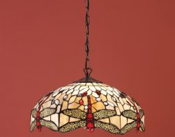 Beige Dragonfly Medium 3 Lamp 41cm Tiffany Pendant Light