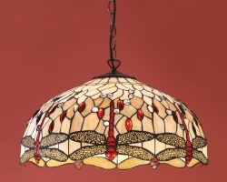 Beige Dragonfly Large 3 Lamp 50cm Tiffany Pendant Light