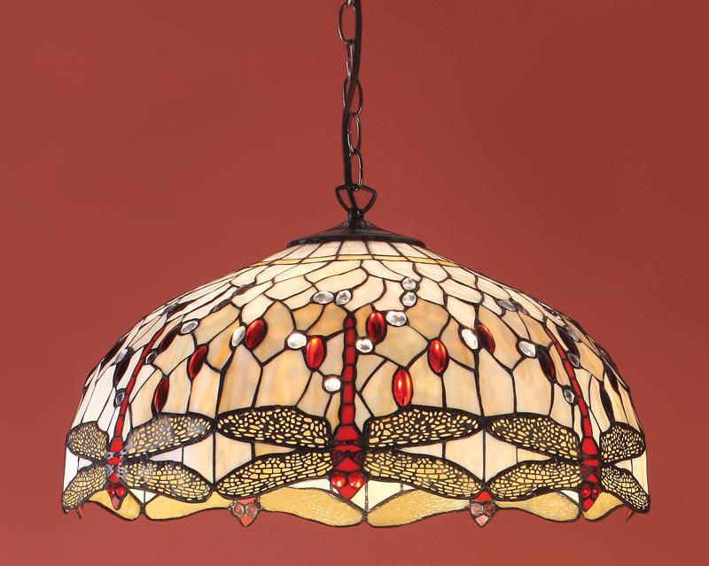 beige dragonfly large 3 lamp 50cm tiffany pendant light 64079